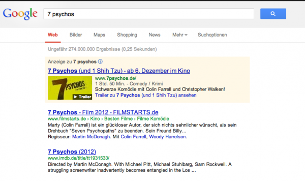 Google Media Ads für 7 Psychos
