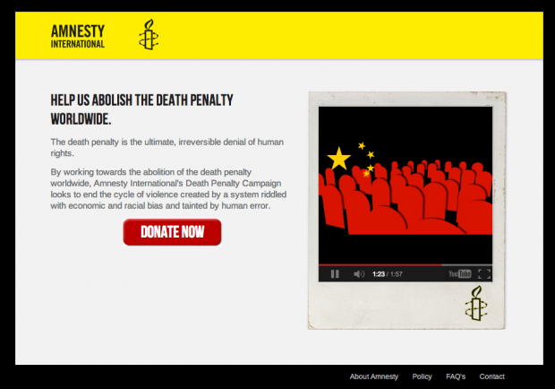 Amnesty International: Landing-Page Death-Penalty-Spendenkampagne
