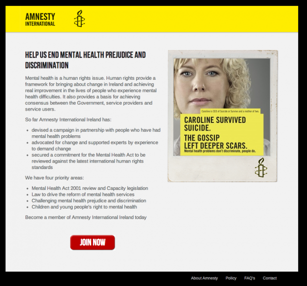 Amnesty International: Landing-Page Suicide-Kampagne