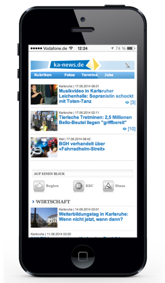 ka-news.de Home-Screen alt