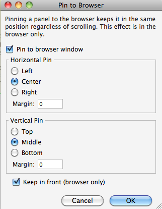 Pin to browser-Funktion in Axure 7