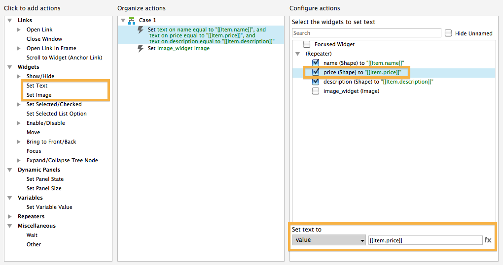 Set text and set image in Axure 7